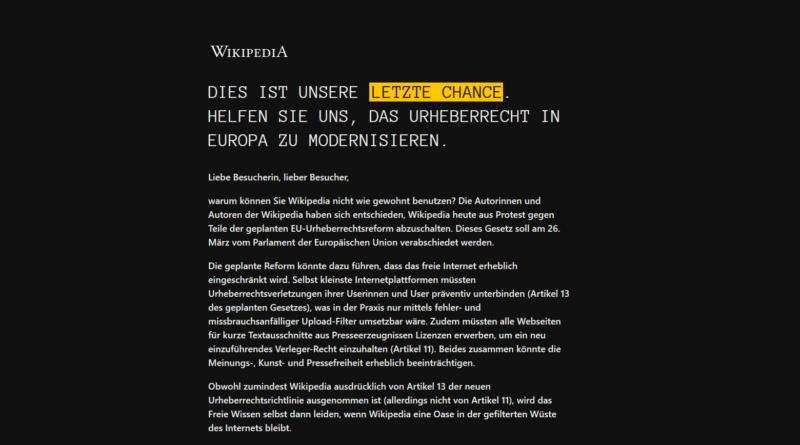 """Wikipedia abgeschaltet: Der Screenshot zeigt das aktuelle Wikipedia. Einen schwarzen Bildschirm mit weißem Text auf dem die Wörter """"Letzte Chance"""" gelb markiert sind."""